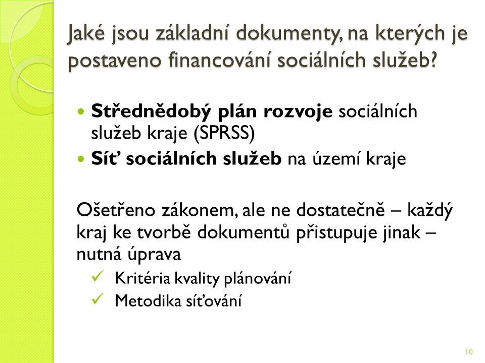 Jaké jsou základní dokumenty, na kterých je postaveno financování sociálních služeb.