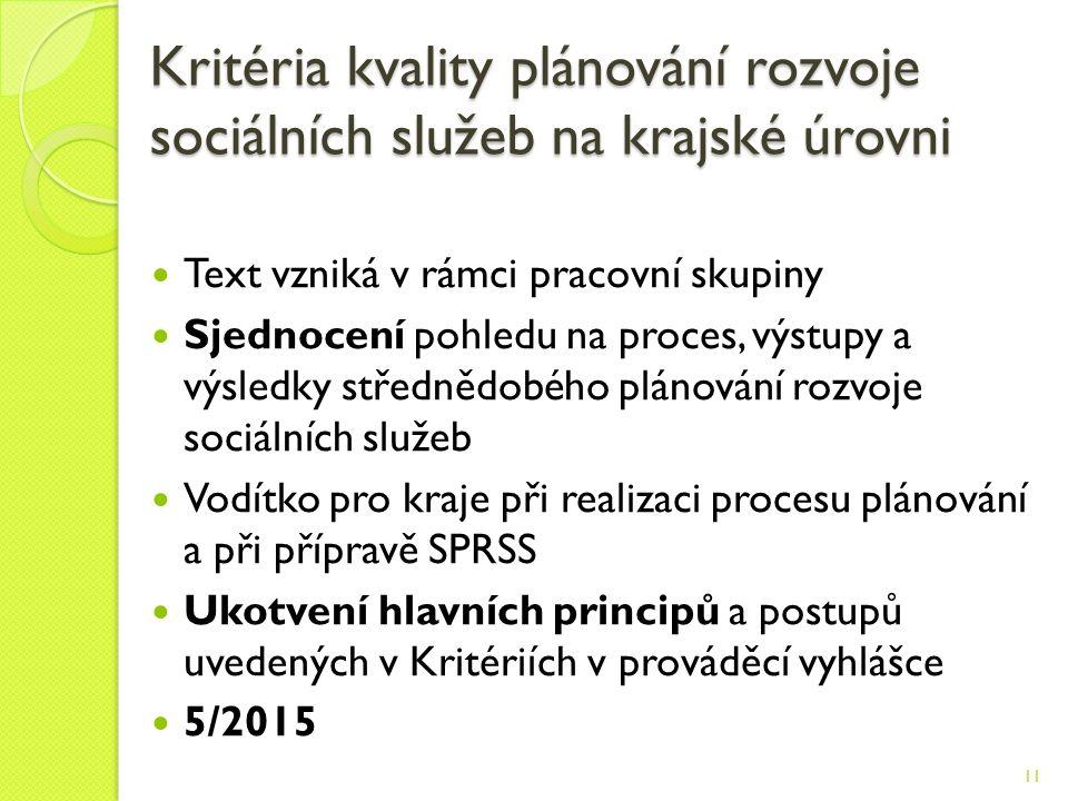 Kritéria kvality plánování rozvoje sociálních služeb na krajské úrovni Text vzniká v rámci pracovní skupiny Sjednocení pohledu na proces, výstupy a výsledky střednědobého plánování rozvoje sociálních služeb Vodítko pro kraje při realizaci procesu plánování a při přípravě SPRSS Ukotvení hlavních principů a postupů uvedených v Kritériích v prováděcí vyhlášce 5/2015 11