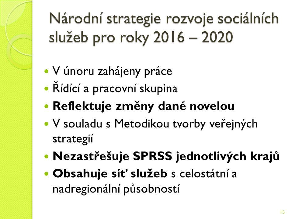 Národní strategie rozvoje sociálních služeb pro roky 2016 – 2020 V únoru zahájeny práce Řídící a pracovní skupina Reflektuje změny dané novelou V souladu s Metodikou tvorby veřejných strategií Nezastřešuje SPRSS jednotlivých krajů Obsahuje síť služeb s celostátní a nadregionální působností 15