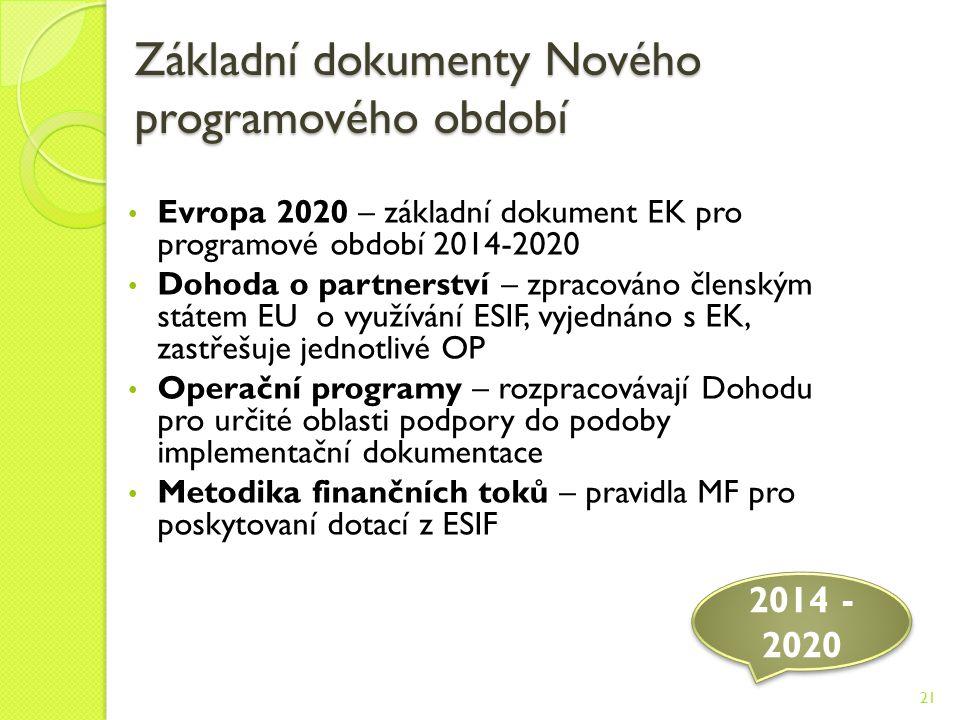 Základní dokumenty Nového programového období Evropa 2020 – základní dokument EK pro programové období 2014-2020 Dohoda o partnerství – zpracováno členským státem EU o využívání ESIF, vyjednáno s EK, zastřešuje jednotlivé OP Operační programy – rozpracovávají Dohodu pro určité oblasti podpory do podoby implementační dokumentace Metodika finančních toků – pravidla MF pro poskytovaní dotací z ESIF 2014 - 2020 21