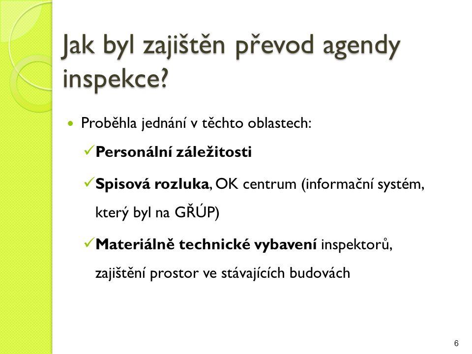 Jak byl zajištěn převod agendy inspekce.