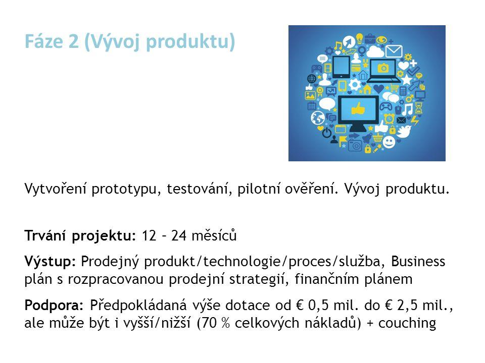Fáze 2 (Vývoj produktu) Vytvoření prototypu, testování, pilotní ověření.