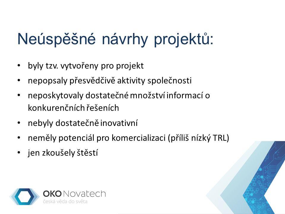 Neúspěšné návrhy projektů: byly tzv.