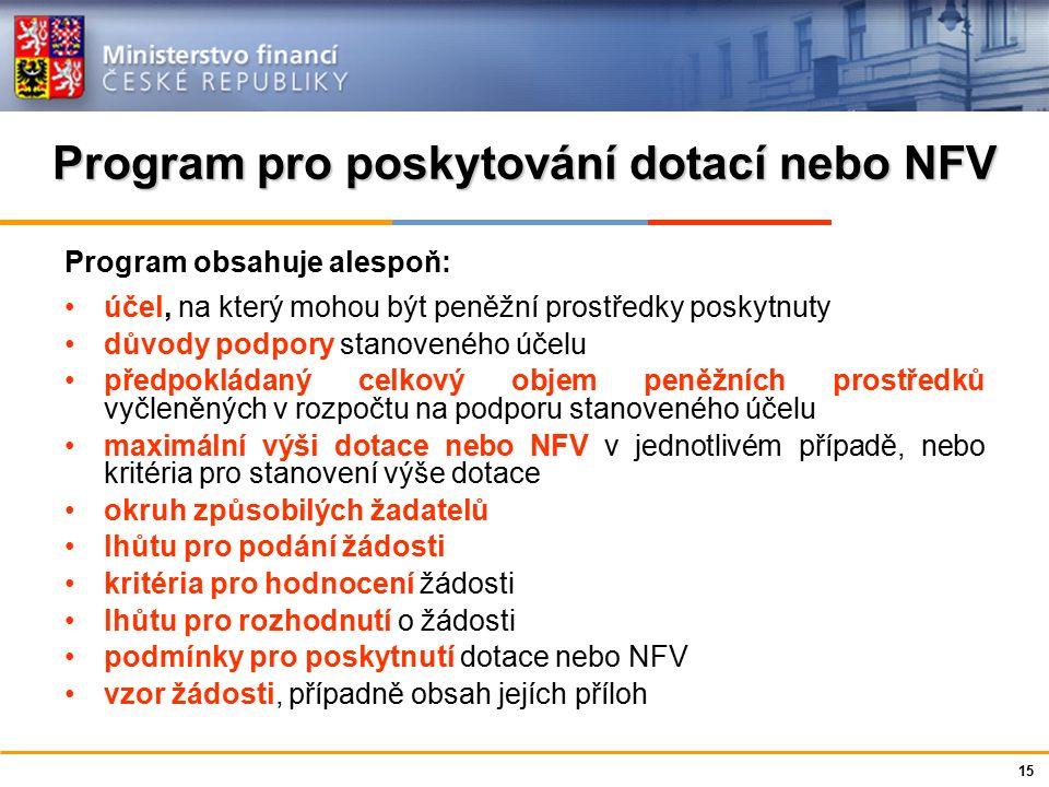 Ministerstvo financí České republiky Program pro poskytování dotací nebo NFV Program obsahuje alespoň: účel, na který mohou být peněžní prostředky pos
