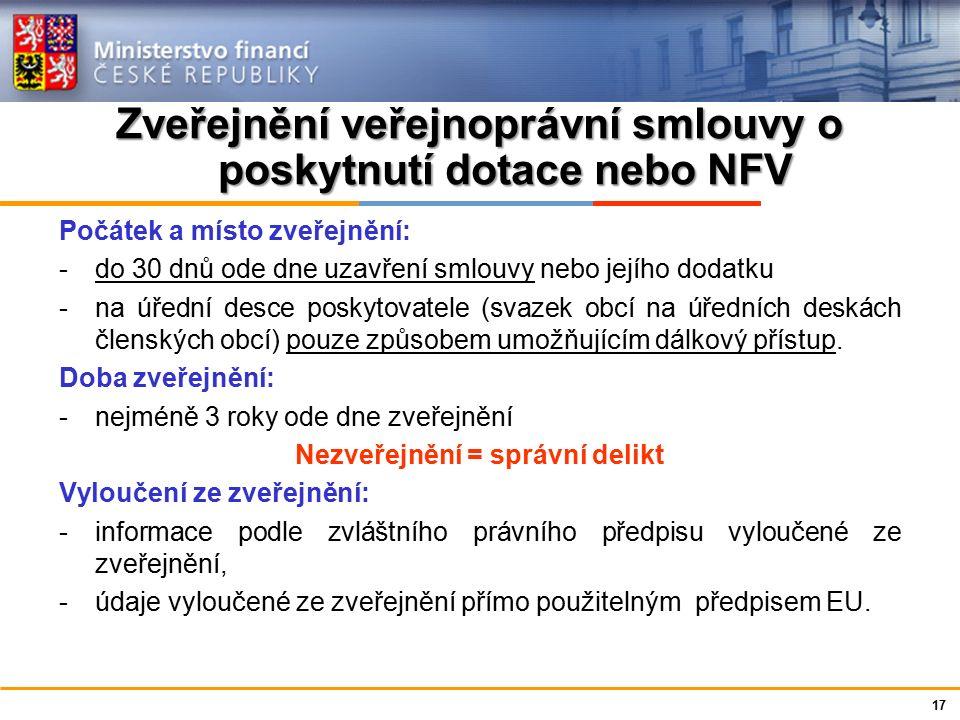 Ministerstvo financí České republiky Zveřejnění veřejnoprávní smlouvy o poskytnutí dotace nebo NFV Počátek a místo zveřejnění: -do 30 dnů ode dne uzav