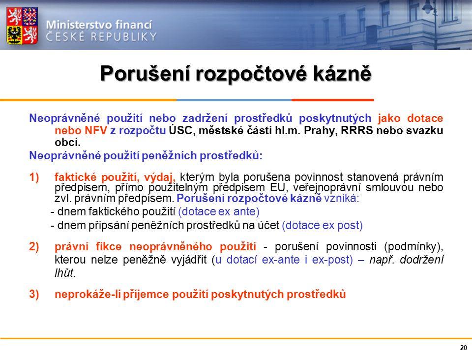 Ministerstvo financí České republiky Porušení rozpočtové kázně Neoprávněné použití nebo zadržení prostředků poskytnutých jako dotace nebo NFV z rozpoč