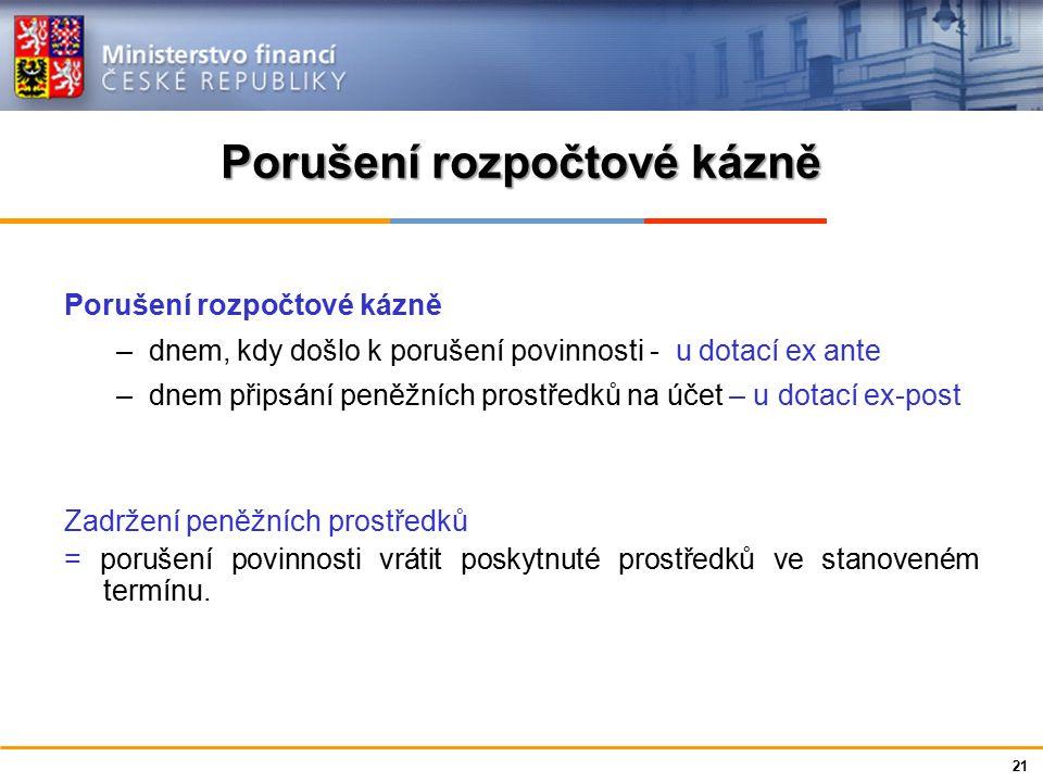Ministerstvo financí České republiky Porušení rozpočtové kázně –dnem, kdy došlo k porušení povinnosti - u dotací ex ante –dnem připsání peněžních pros