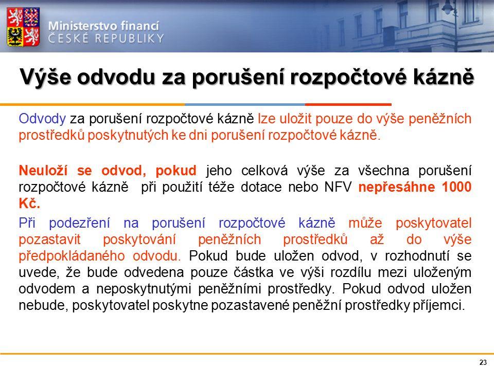 Ministerstvo financí České republiky Výše odvodu za porušení rozpočtové kázně Odvody za porušení rozpočtové kázně lze uložit pouze do výše peněžních p