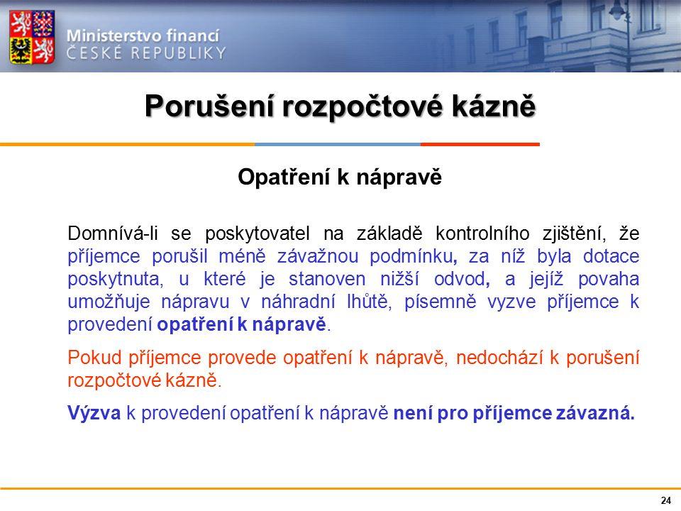 Ministerstvo financí České republiky Porušení rozpočtové kázně Opatření k nápravě Domnívá-li se poskytovatel na základě kontrolního zjištění, že příje
