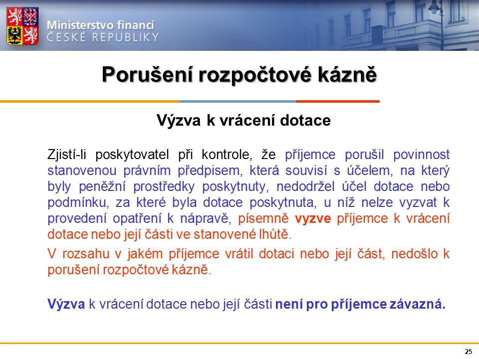 Ministerstvo financí České republiky Porušení rozpočtové kázně Výzva k vrácení dotace Zjistí-li poskytovatel při kontrole, že příjemce porušil povinno