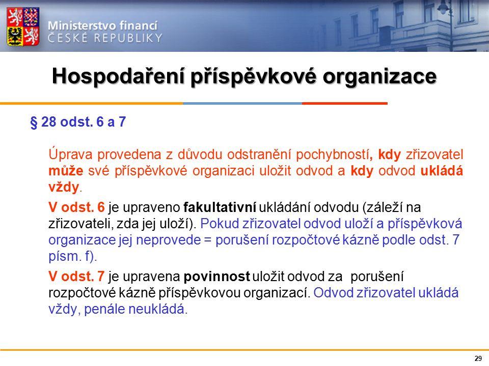 Ministerstvo financí České republiky Hospodaření příspěvkové organizace § 28 odst. 6 a 7 Úprava provedena z důvodu odstranění pochybností, kdy zřizova