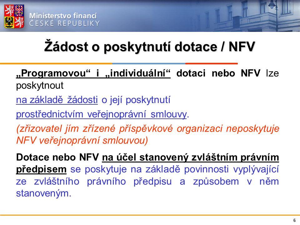 """Ministerstvo financí České republiky Žádost o poskytnutí dotace / NFV """"Programovou"""" i """"individuální"""" dotaci nebo NFV lze poskytnout na základě žádosti"""