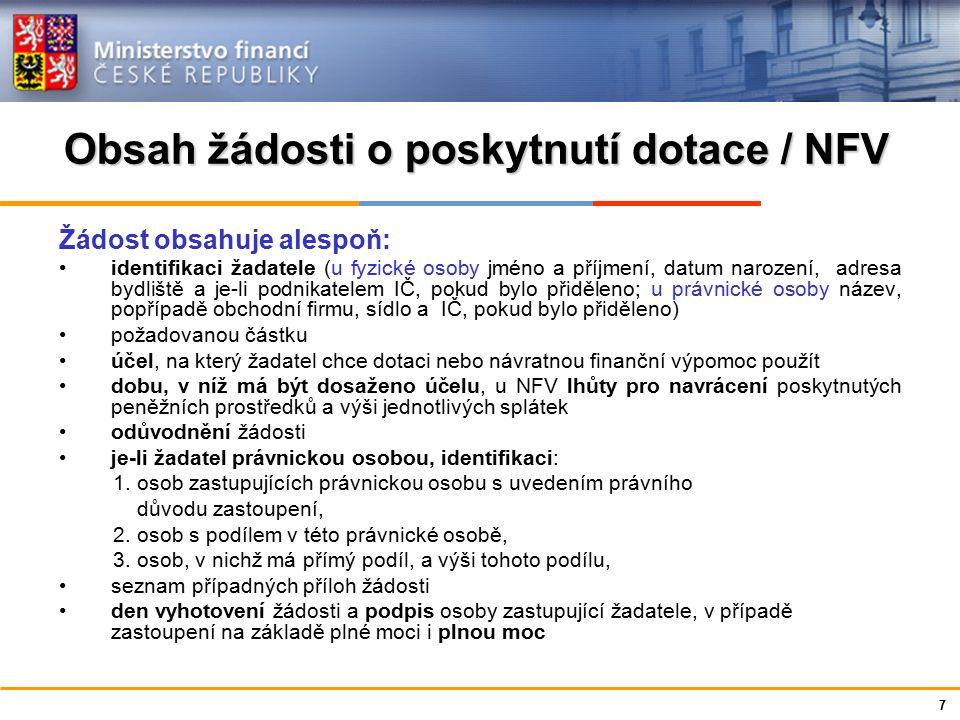 Ministerstvo financí České republiky Obsah žádosti o poskytnutí dotace / NFV Žádost obsahuje alespoň: identifikaci žadatele (u fyzické osoby jméno a p