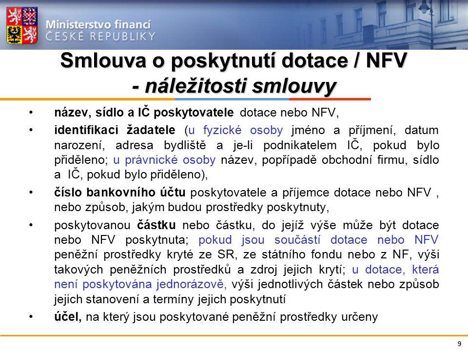 Ministerstvo financí České republiky Smlouva o poskytnutí dotace / NFV - náležitosti smlouvy název, sídlo a IČ poskytovatele dotace nebo NFV, identifi