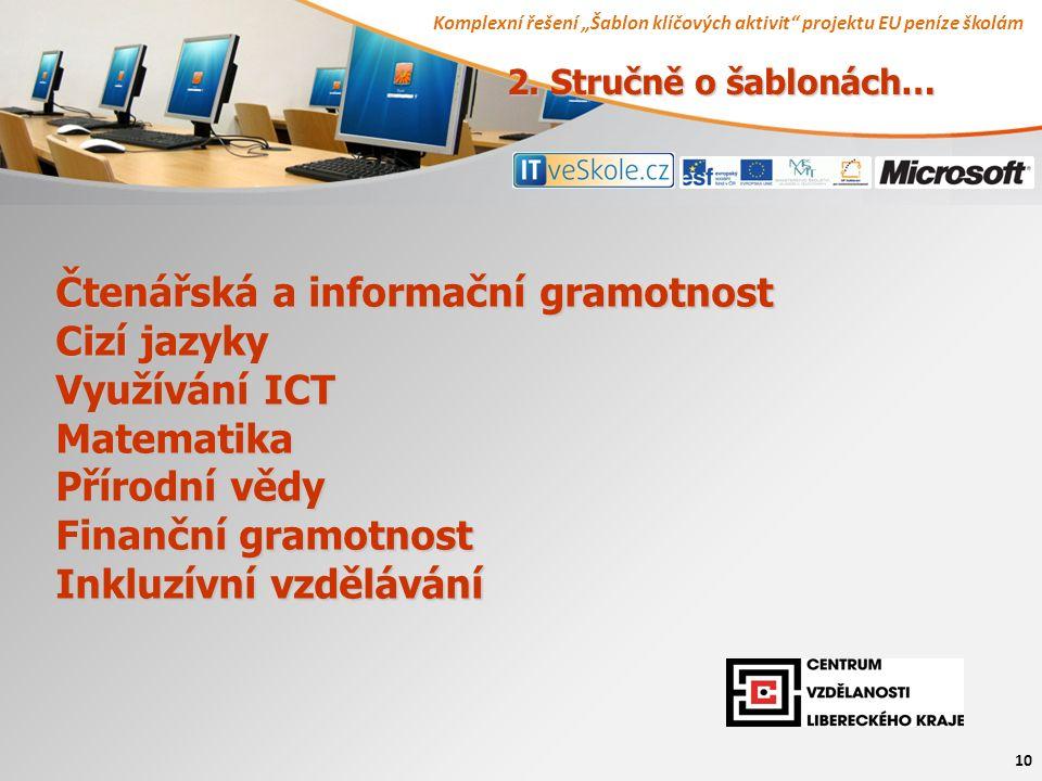 """Komplexní řešení """"Šablon klíčových aktivit projektu EU peníze školám 10 Čtenářská a informační gramotnost Cizí jazyky Využívání ICT Matematika Přírodní vědy Finanční gramotnost Inkluzívní vzdělávání 2."""