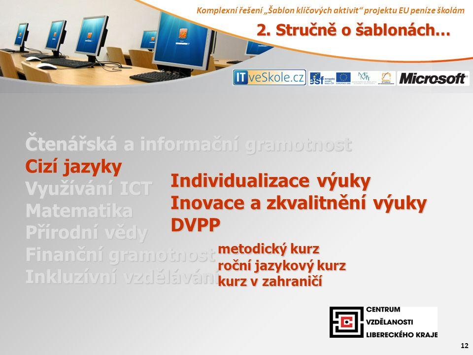 """Komplexní řešení """"Šablon klíčových aktivit projektu EU peníze školám 12 Čtenářská a informační gramotnost Cizí jazyky Využívání ICT Matematika Přírodní vědy Finanční gramotnost Inkluzívní vzdělávání Individualizace výuky Inovace a zkvalitnění výuky DVPP metodický kurz roční jazykový kurz kurz v zahraničí 2."""