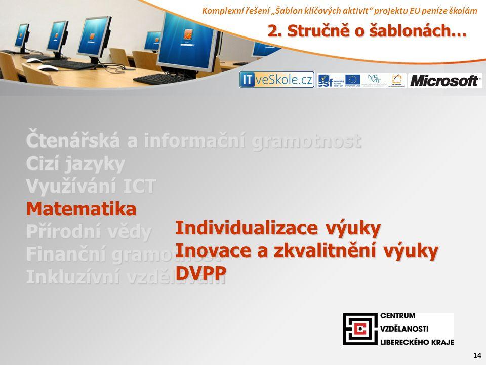"""Komplexní řešení """"Šablon klíčových aktivit projektu EU peníze školám 14 Čtenářská a informační gramotnost Cizí jazyky Využívání ICT Matematika Přírodní vědy Finanční gramotnost Inkluzívní vzdělávání Individualizace výuky Inovace a zkvalitnění výuky DVPP 2."""