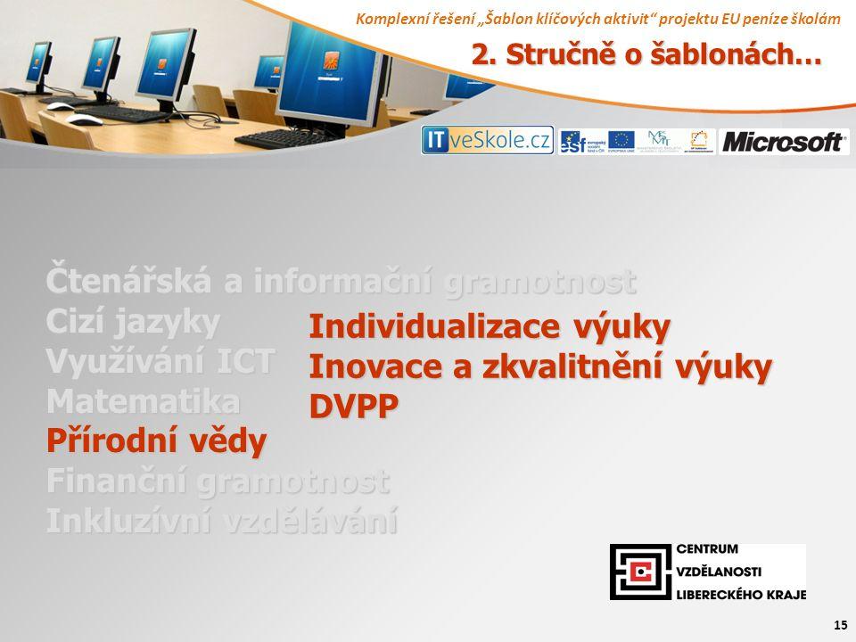 """Komplexní řešení """"Šablon klíčových aktivit projektu EU peníze školám 15 Čtenářská a informační gramotnost Cizí jazyky Využívání ICT Matematika Přírodní vědy Finanční gramotnost Inkluzívní vzdělávání Individualizace výuky Inovace a zkvalitnění výuky DVPP 2."""