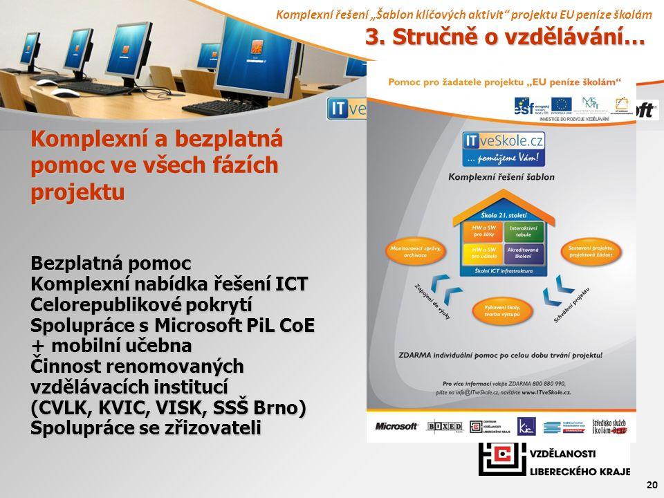 """Komplexní řešení """"Šablon klíčových aktivit projektu EU peníze školám 20 Komplexní a bezplatná pomoc ve všech fázích projektu Bezplatná pomoc Komplexní nabídka řešení ICT Celorepublikové pokrytí Spolupráce s Microsoft PiL CoE + mobilní učebna Činnost renomovaných vzdělávacích institucí (CVLK, KVIC, VISK, SSŠ Brno) Spolupráce se zřizovateli 3."""