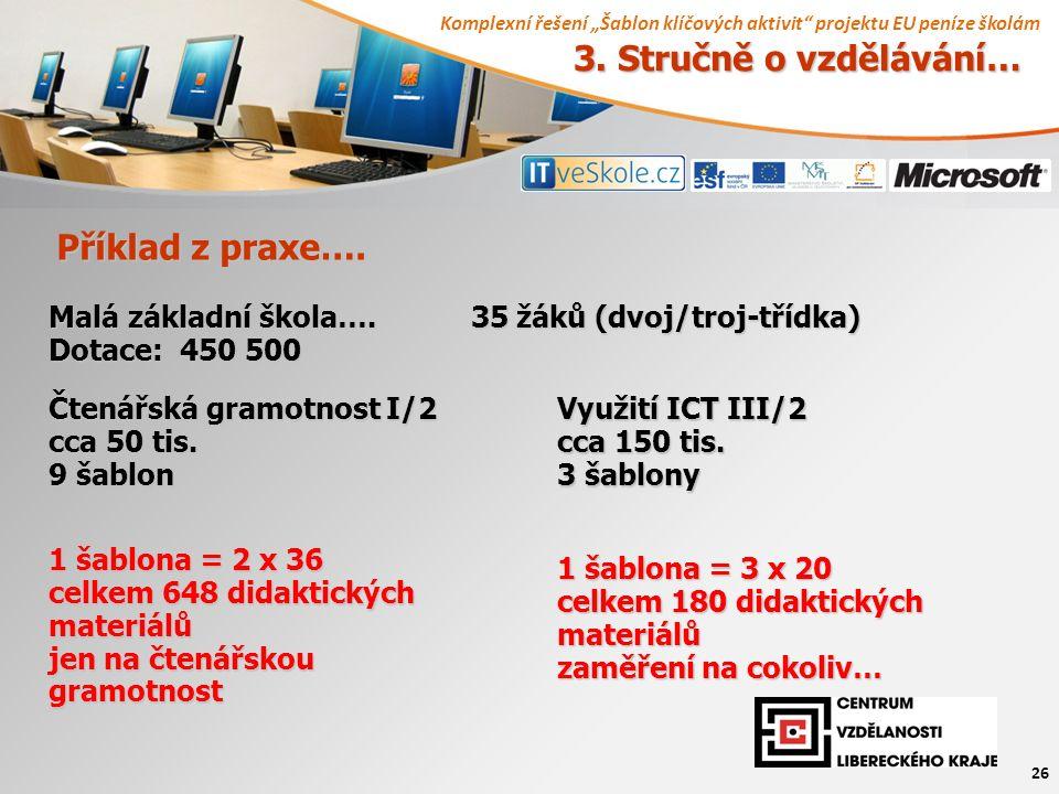 """Komplexní řešení """"Šablon klíčových aktivit projektu EU peníze školám 26 Příklad z praxe…."""