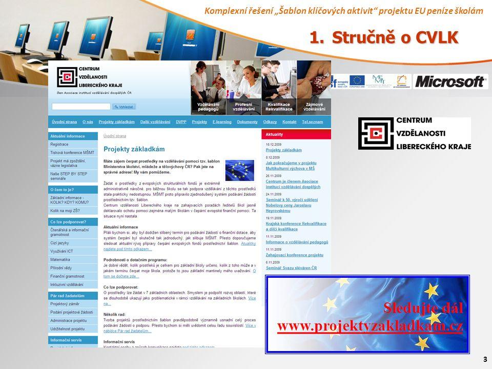 """Komplexní řešení """"Šablon klíčových aktivit projektu EU peníze školám 3 1. Stručně o CVLK"""
