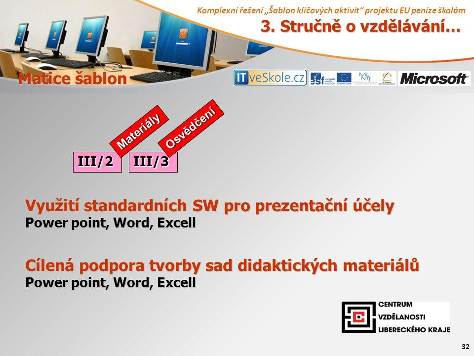 """Komplexní řešení """"Šablon klíčových aktivit"""" projektu EU peníze školám 32 Matice šablon 3. Stručně o vzdělávání… III/2III/3 Materiály Osvědčení Využití"""