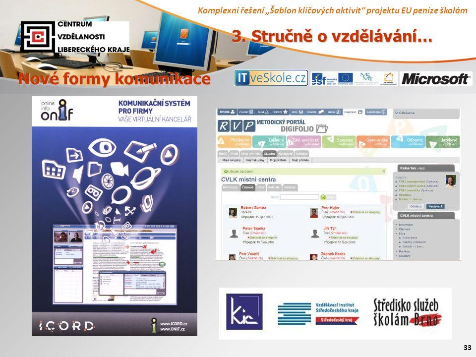 """Komplexní řešení """"Šablon klíčových aktivit"""" projektu EU peníze školám 33 Nové formy komunikace 3. Stručně o vzdělávání…"""