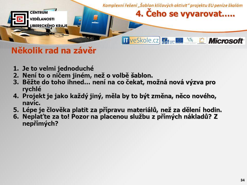 """Komplexní řešení """"Šablon klíčových aktivit projektu EU peníze školám 34 4."""