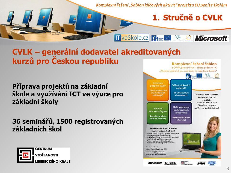 """Komplexní řešení """"Šablon klíčových aktivit projektu EU peníze školám 4 CVLK – generální dodavatel akreditovaných kurzů pro Českou republiku Příprava projektů na základní škole a využívání ICT ve výuce pro základní školy 36 seminářů, 1500 registrovaných základních škol 1."""