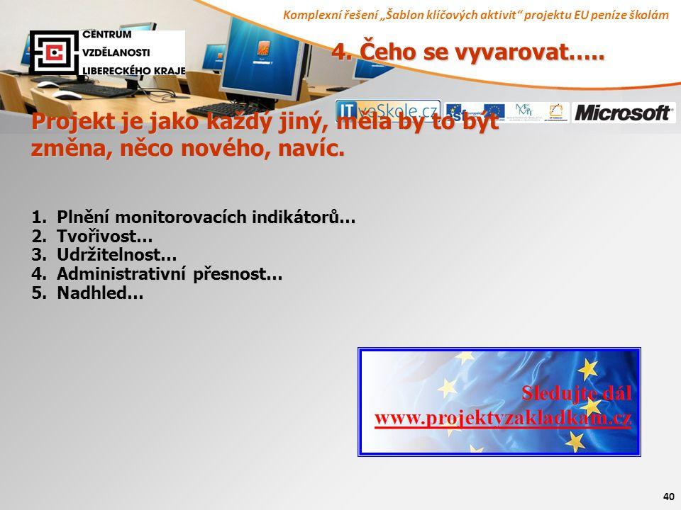 """Komplexní řešení """"Šablon klíčových aktivit projektu EU peníze školám 40 4."""