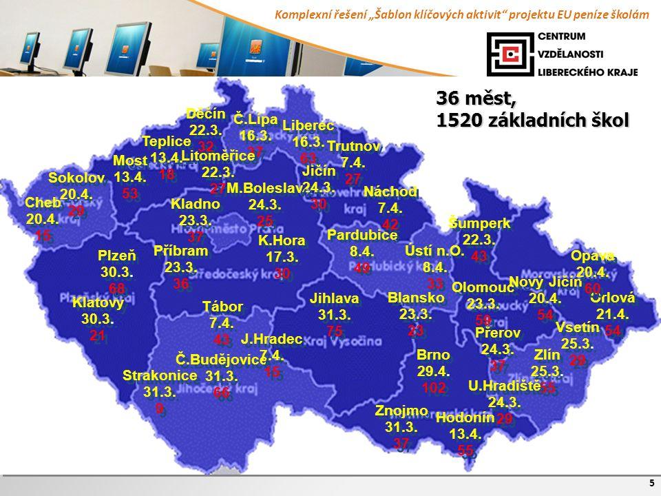 """Komplexní řešení """"Šablon klíčových aktivit"""" projektu EU peníze školám 5 Brno 29.4. 102 Brno 29.4. 102 Plzeň 30.3. 68 Plzeň 30.3. 68 Jihlava 31.3. 75 J"""