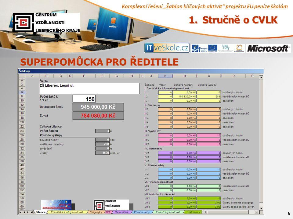 """Komplexní řešení """"Šablon klíčových aktivit"""" projektu EU peníze školám 6 SUPERPOMŮCKA PRO ŘEDITELE 1. Stručně o CVLK"""