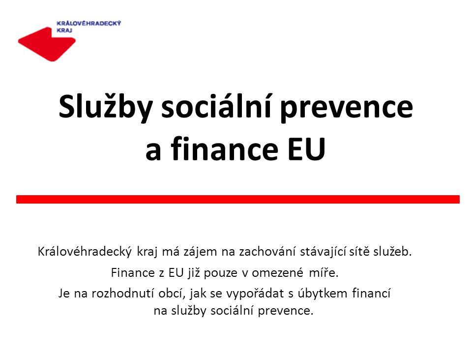 Služby sociální prevence a finance EU Královéhradecký kraj má zájem na zachování stávající sítě služeb. Finance z EU již pouze v omezené míře. Je na r