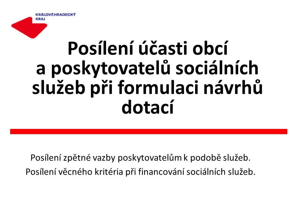 Posílení účasti obcí a poskytovatelů sociálních služeb při formulaci návrhů dotací Posílení zpětné vazby poskytovatelům k podobě služeb. Posílení věcn