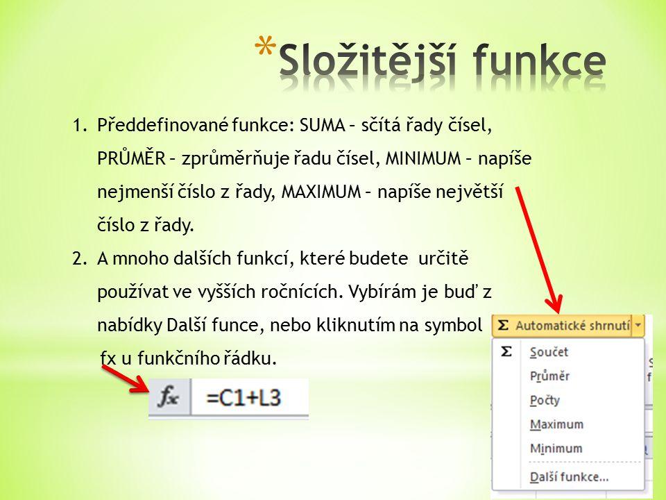 1.Předdefinované funkce: SUMA – sčítá řady čísel, PRŮMĚR – zprůměrňuje řadu čísel, MINIMUM – napíše nejmenší číslo z řady, MAXIMUM – napíše největší číslo z řady.