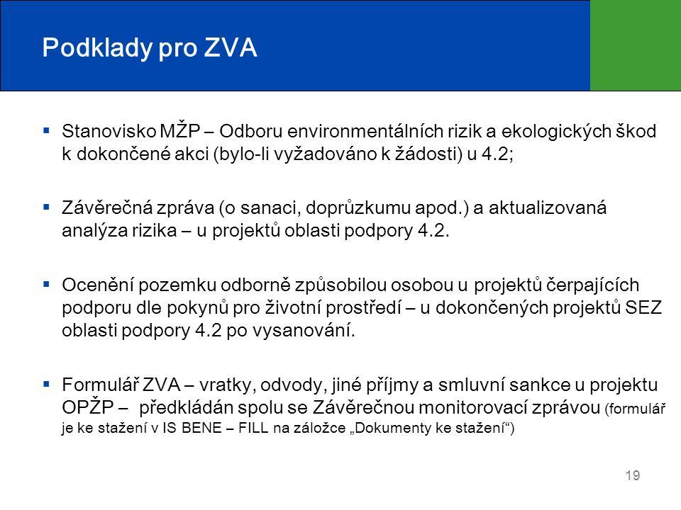 Podklady pro ZVA  Stanovisko MŽP – Odboru environmentálních rizik a ekologických škod k dokončené akci (bylo-li vyžadováno k žádosti) u 4.2;  Závěrečná zpráva (o sanaci, doprůzkumu apod.) a aktualizovaná analýza rizika – u projektů oblasti podpory 4.2.