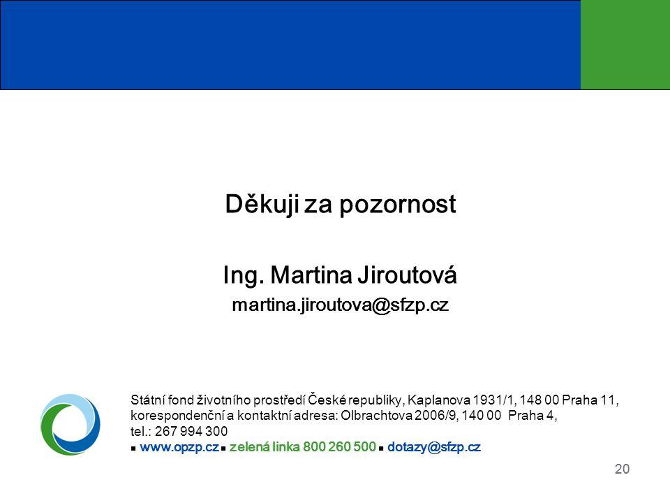 20 Děkuji za pozornost Ing. Martina Jiroutová martina.jiroutova@sfzp.cz Státní fond životního prostředí České republiky, Kaplanova 1931/1, 148 00 Prah