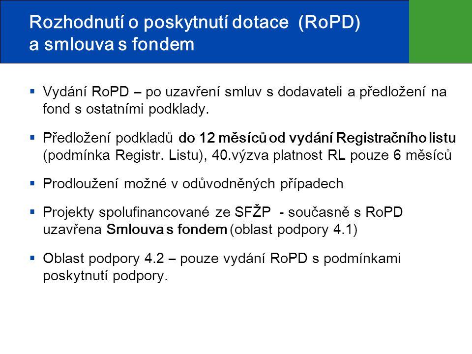 Rozhodnutí o poskytnutí dotace (RoPD) a smlouva s fondem  Vydání RoPD – po uzavření smluv s dodavateli a předložení na fond s ostatními podklady.