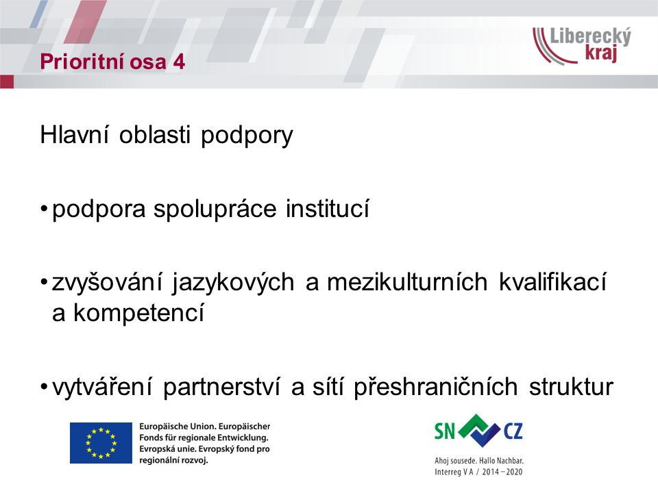 Prioritní osa 4 Hlavní oblasti podpory podpora spolupráce institucí zvyšování jazykových a mezikulturních kvalifikací a kompetencí vytváření partnerství a sítí přeshraničních struktur