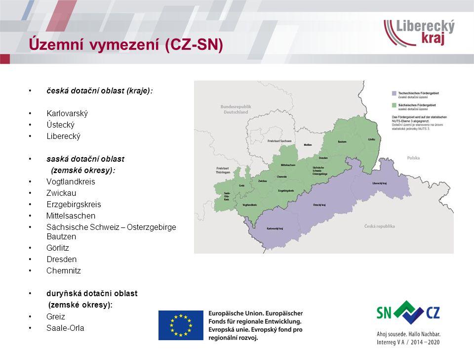 Územní vymezení (CZ-SN) česká dotační oblast (kraje): Karlovarský Ústecký Liberecký saská dotační oblast (zemské okresy): Vogtlandkreis Zwickau Erzgeb