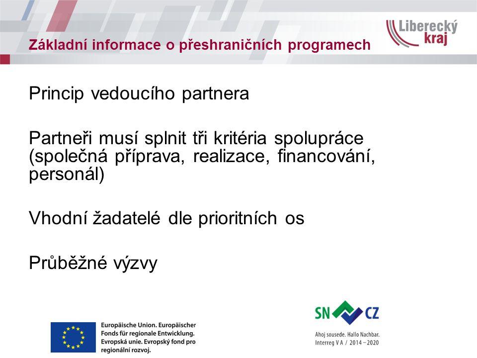 Základní informace o přeshraničních programech Princip vedoucího partnera Partneři musí splnit tři kritéria spolupráce (společná příprava, realizace, financování, personál) Vhodní žadatelé dle prioritních os Průběžné výzvy