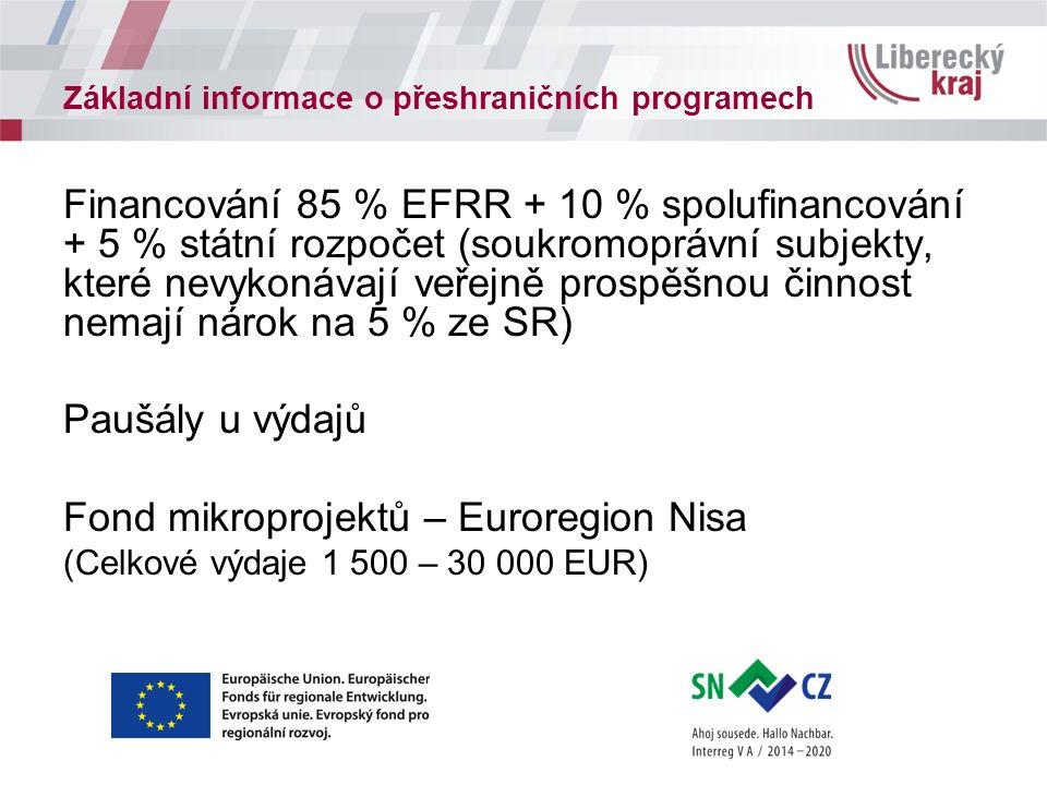 Základní informace o přeshraničních programech Financování 85 % EFRR + 10 % spolufinancování + 5 % státní rozpočet (soukromoprávní subjekty, které nevykonávají veřejně prospěšnou činnost nemají nárok na 5 % ze SR) Paušály u výdajů Fond mikroprojektů – Euroregion Nisa (Celkové výdaje 1 500 – 30 000 EUR)