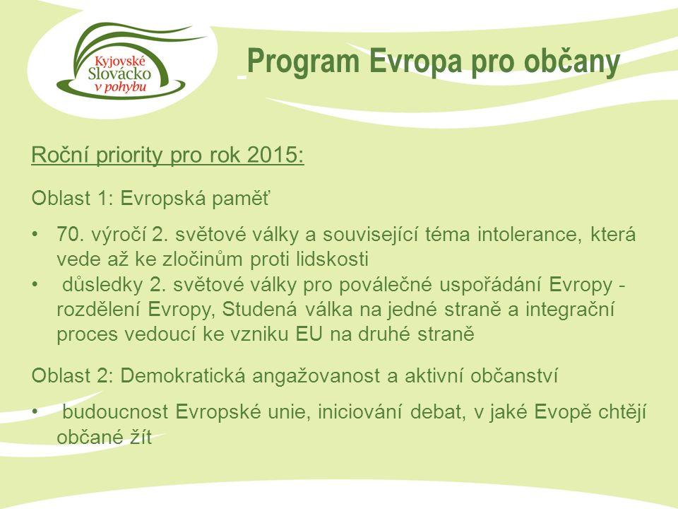 Program Evropa pro občany Roční priority pro rok 2015: Oblast 1: Evropská paměť 70.