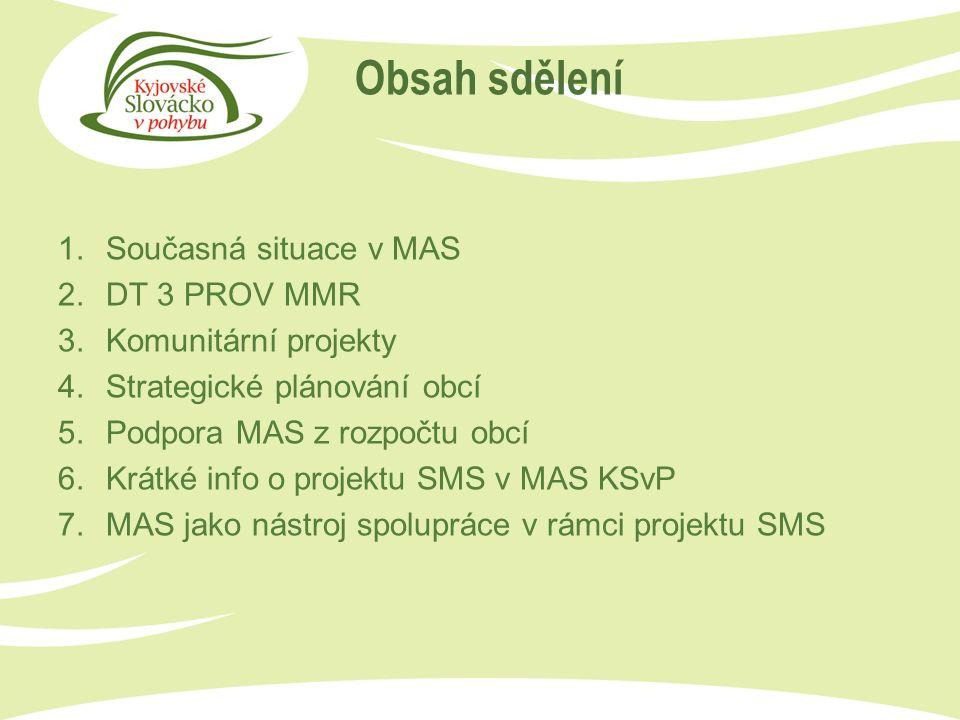 Obsah sdělení 1.Současná situace v MAS 2.DT 3 PROV MMR 3.Komunitární projekty 4.Strategické plánování obcí 5.Podpora MAS z rozpočtu obcí 6.Krátké info o projektu SMS v MAS KSvP 7.MAS jako nástroj spolupráce v rámci projektu SMS
