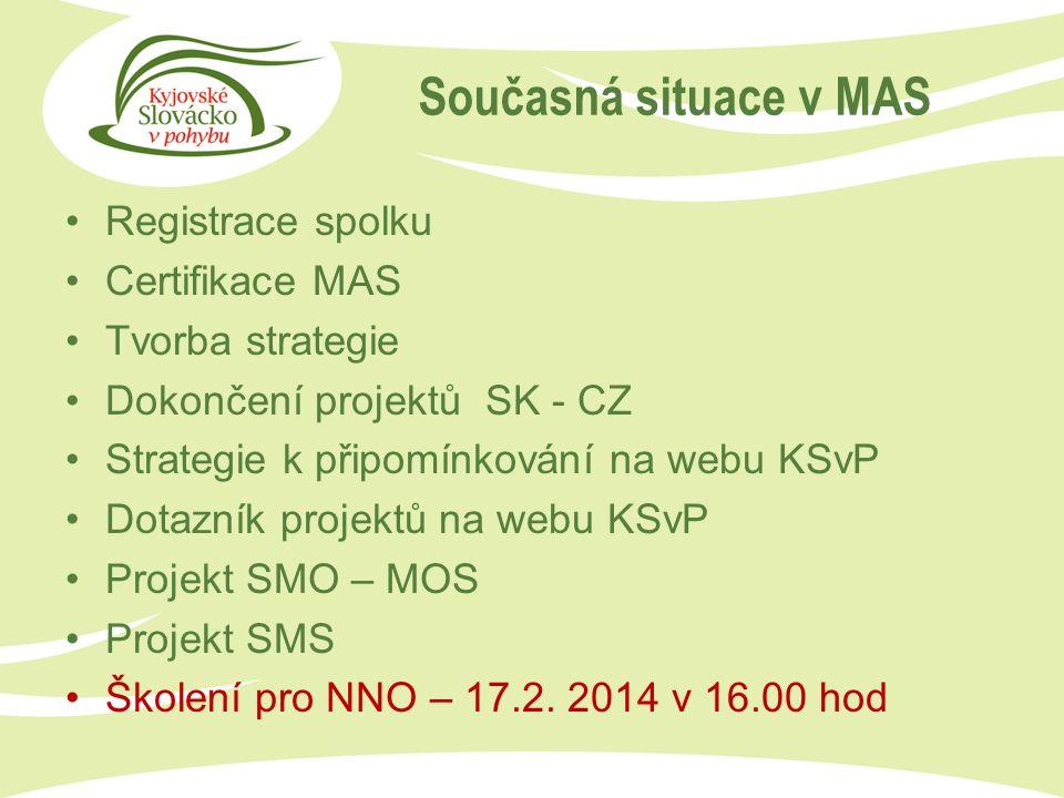 Registrace spolku Certifikace MAS Tvorba strategie Dokončení projektů SK - CZ Strategie k připomínkování na webu KSvP Dotazník projektů na webu KSvP Projekt SMO – MOS Projekt SMS Školení pro NNO – 17.2.