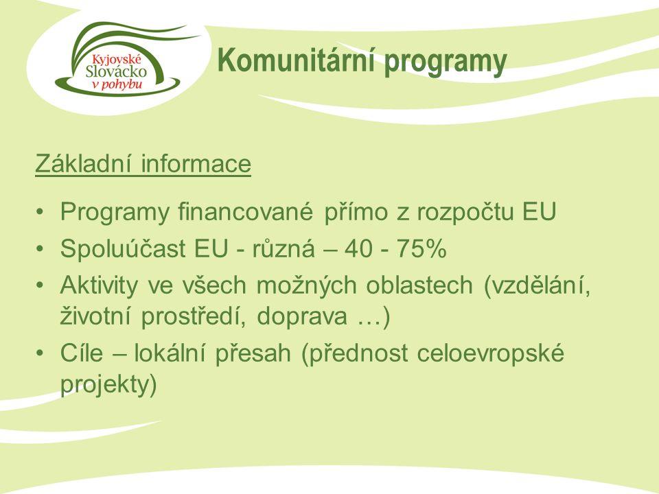 Komunitární programy Základní informace Programy financované přímo z rozpočtu EU Spoluúčast EU - různá – 40 - 75% Aktivity ve všech možných oblastech (vzdělání, životní prostředí, doprava …) Cíle – lokální přesah (přednost celoevropské projekty)
