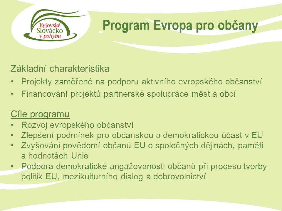 Program Evropa pro občany Základní charakteristika Projekty zaměřené na podporu aktivního evropského občanství Financování projektů partnerské spolupráce měst a obcí Cíle programu Rozvoj evropského občanství Zlepšení podmínek pro občanskou a demokratickou účast v EU Zvyšování povědomí občanů EU o společných dějinách, paměti a hodnotách Unie Podpora demokratické angažovanosti občanů při procesu tvorby politik EU, mezikulturního dialog a dobrovolnictví
