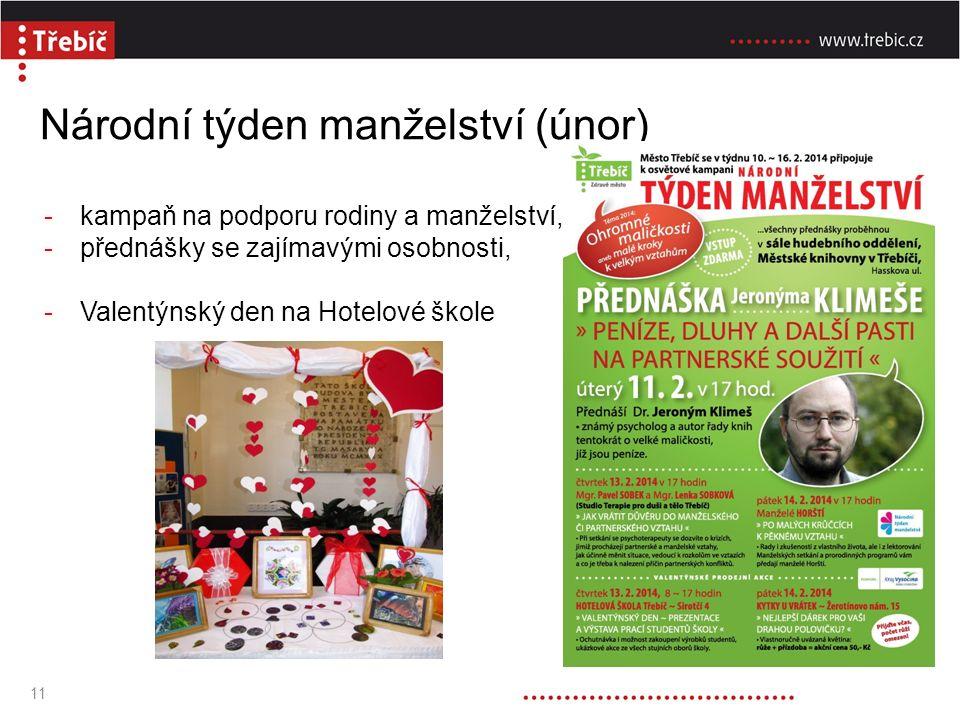 Národní týden manželství (únor) -kampaň na podporu rodiny a manželství, -přednášky se zajímavými osobnosti, -Valentýnský den na Hotelové škole 11