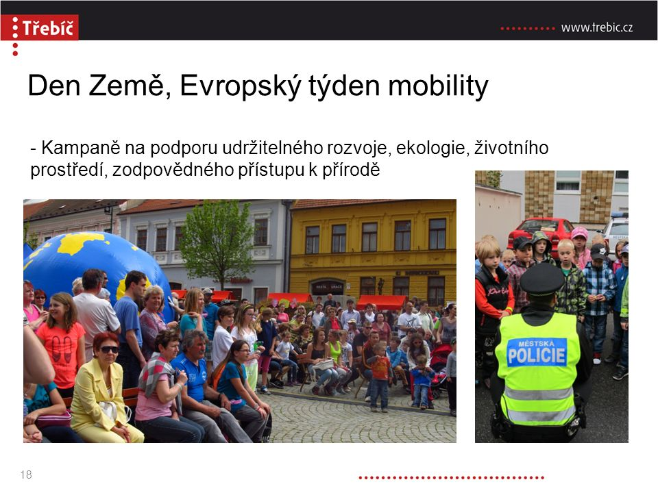 Den Země, Evropský týden mobility - Kampaně na podporu udržitelného rozvoje, ekologie, životního prostředí, zodpovědného přístupu k přírodě 18