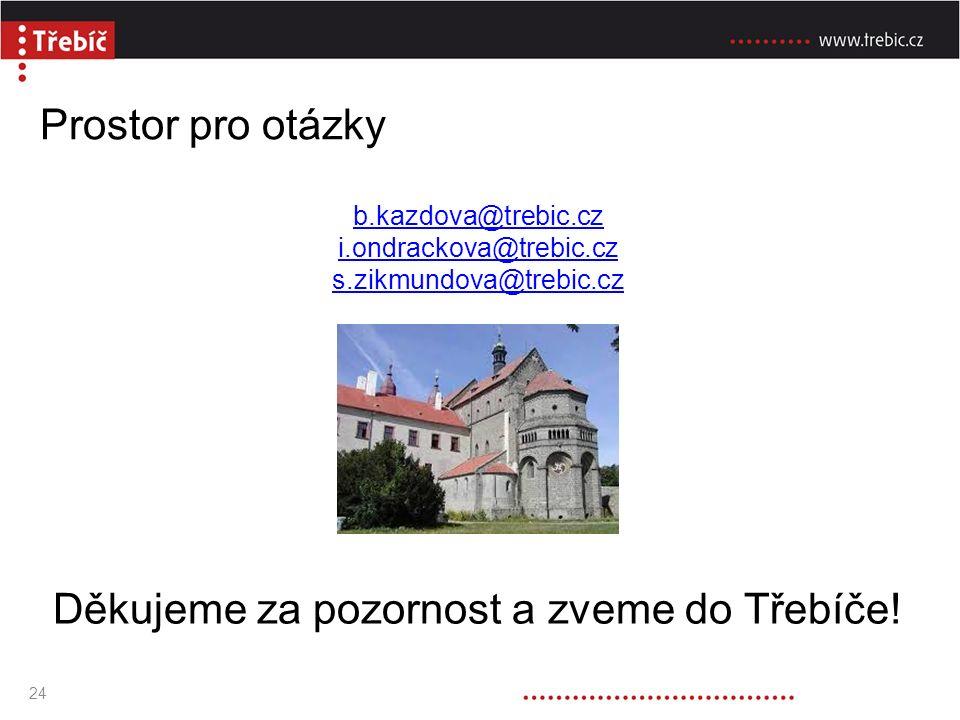 Prostor pro otázky b.kazdova@trebic.cz i.ondrackova@trebic.cz s.zikmundova@trebic.cz Děkujeme za pozornost a zveme do Třebíče.